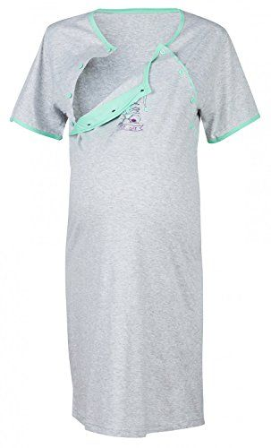 8939c2022d2 Happy Mama Womens Maternity Hospital Gown Robe Nightie Set Labour Birth  190p Grey Melange US 12 XL