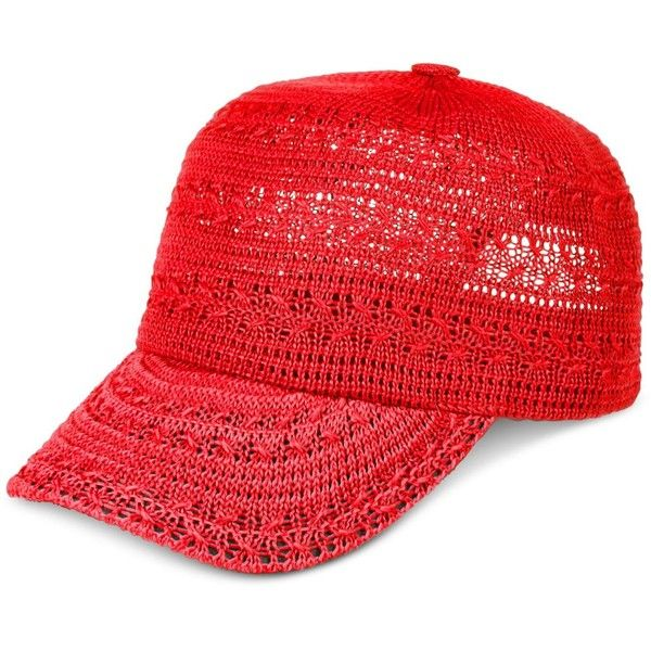 Inc International Concepts Crochet Packable Baseball Cap, ($18) ❤ liked on Polyvore featuring accessories, hats, coral, ball cap hats, ball cap, crochet baseball cap, crochet baseball hat and crochet hat