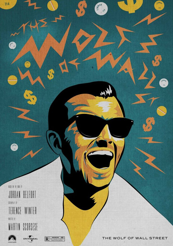 Leonardo Dicaprio in the Wolf of Wall Street. Movie Poster design by Andrew for Inky Illustration Agency. Hire Andrew here: https://www.inkyillustration.com/andrew-bourne   Email us to commission your artwork: info@inkyillustration.com