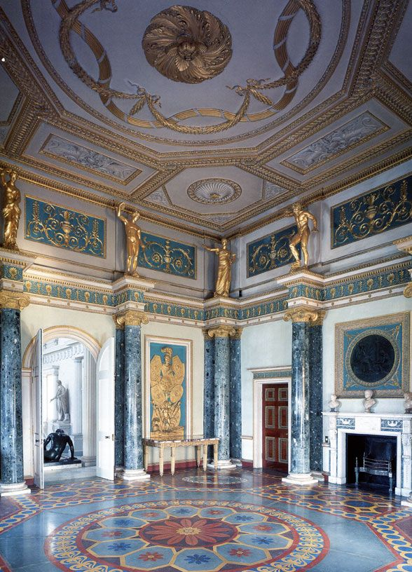 Syon House Ante Room    Robert Adam 1728-92   Interiors were Robert Adam's great achievement. The synthesis of architecture, planning and decoration.  Click on pic for MANY more outstanding architecture designs and features.  Nothing made like this today!!!