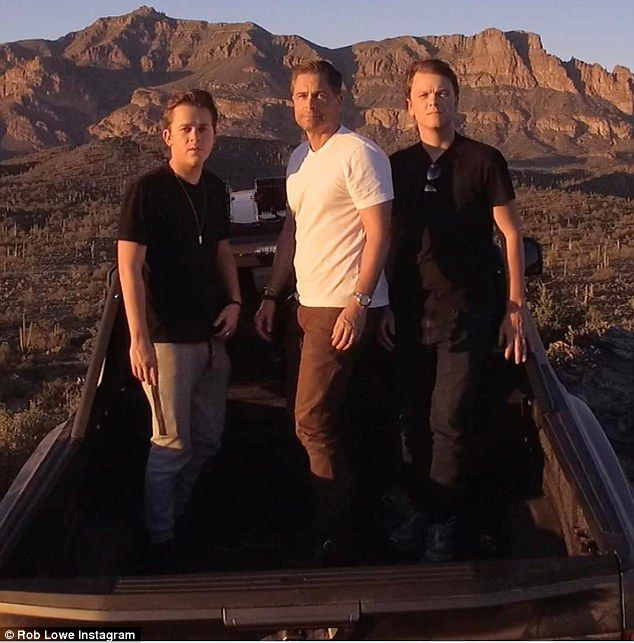 Tremendous trio: Rob Lowe is set to star in a new reality series with sons John Owen (left) and Matthew Edward (right)