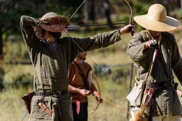Beau, Kade and Johannes on Archery range at NEMAS Gathering 2016 by Michael James