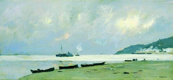 Isaac Levitan (Russian 1860–1900) [Realism, Peredvizhniki] Yurievets. Gloomy Day on the Volga., 1890.