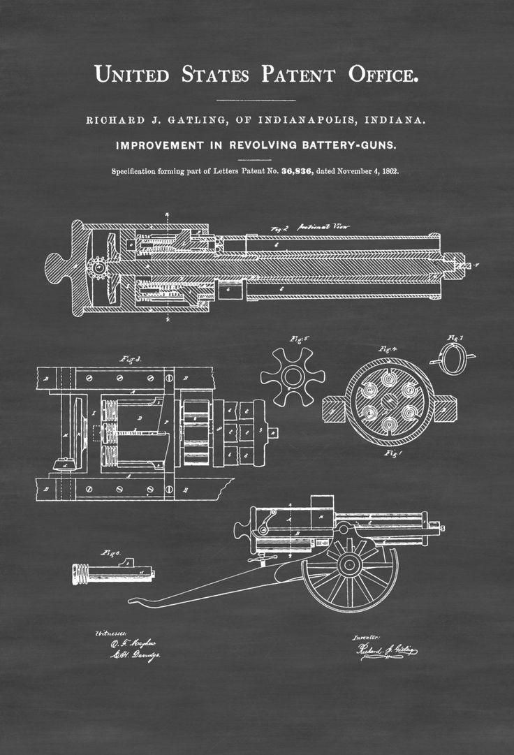 A patent print poster of a Gatling Machine Gun invented by Richard J. Gatling.  The patent was issued by the United States Patent Office on November 4, 1862. The Gatling gun is one of the best-known early rapid-fire spring loaded, hand cranked weapons and a forerunner of the modern machine gun. Invented by Dr. ...
