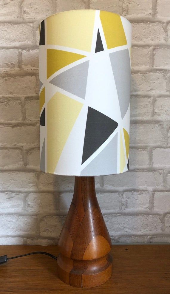 Yellow Mustard Grey Geometric Lampshade Geometric Lampshade Lamp Shades Geometric