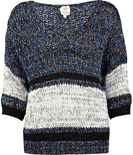 RIVER ISLAND Blue Stripe Chunky Knit Jumper @Lyst