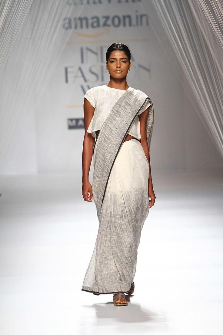 Sari - Anavila - white and grey linen sari - Amazon India Fashion Week Spring-Summer 2016