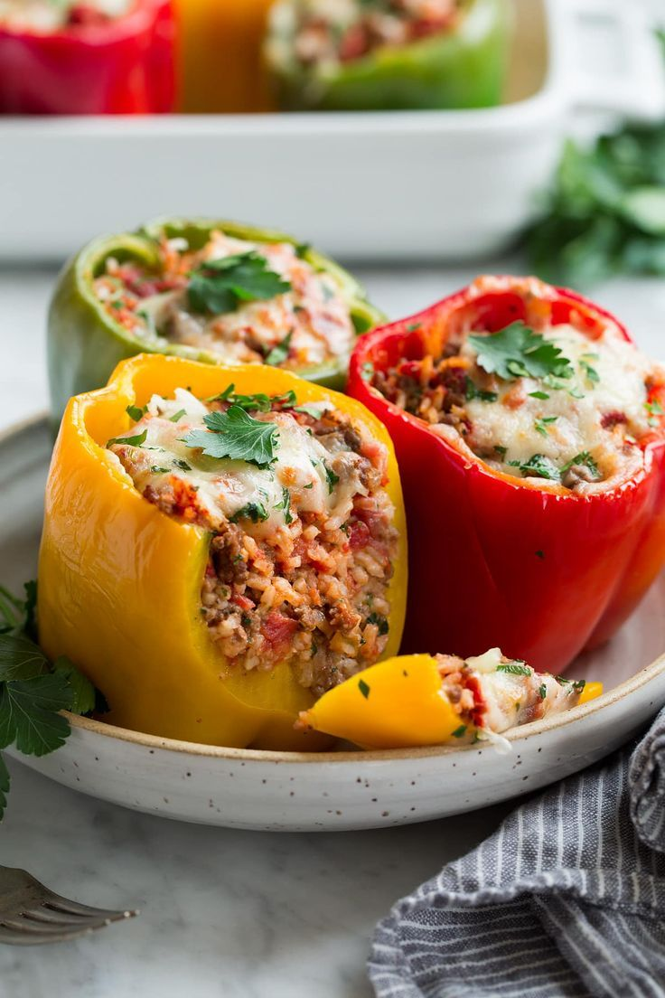 Red Yellow And Green Stuffed Peppers Recipe Stuffed With Rice And Ground Beef Maindish Stuffedpepper Stuffed Peppers Peppers Recipes Stuffed Green Peppers