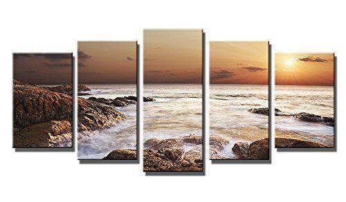 K&N Rocky Sea Ocean Canvas HD Giclee Printed Photo Wall Art Framed Home Decor US #KandN #Modernism