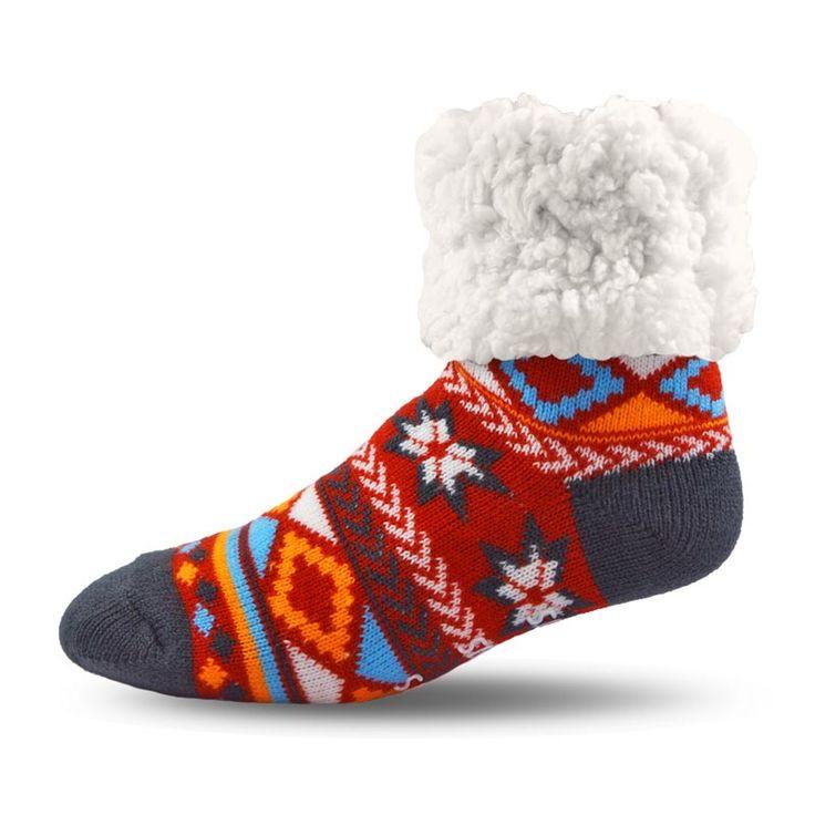 #Pudus Geometric Red #Socks with a Warm, Soft and Fluffy Lining  #wintersocks #warmsocks #linedsocks