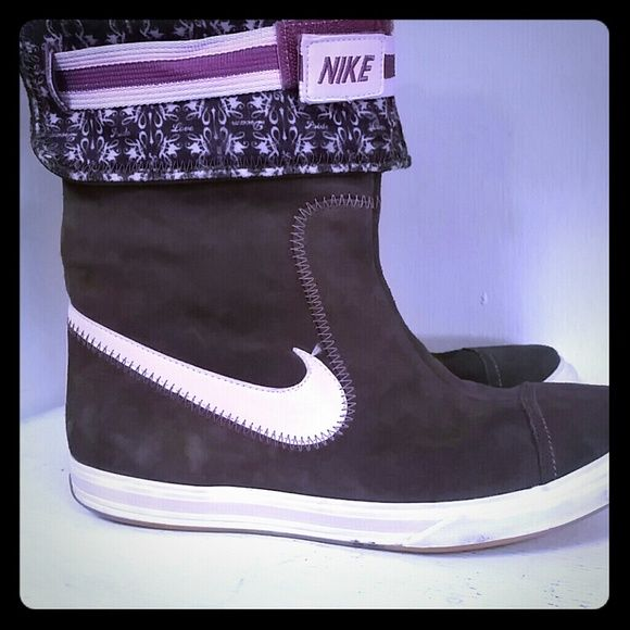 Nike  boots. Size 8.m Womens nike boots suede leather. Can be worn two ways as shown in the picture folded down are a little higher. These boots are in great condition. Nike Shoes Ankle Boots & Booties