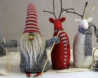Scandinavian Christmas decoration Red White deer Nordic Christmas gnome Tomte Primitive Christmas mantel decor Handmade gift Stuffed deer