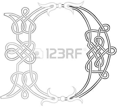 A Celtic Knot-work Capital Letter D Stylized Outline Illustration