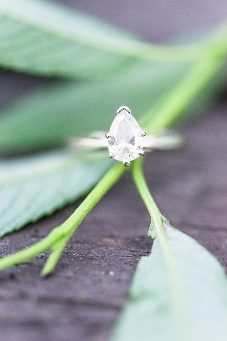 Teardrop solitaire engagement ring