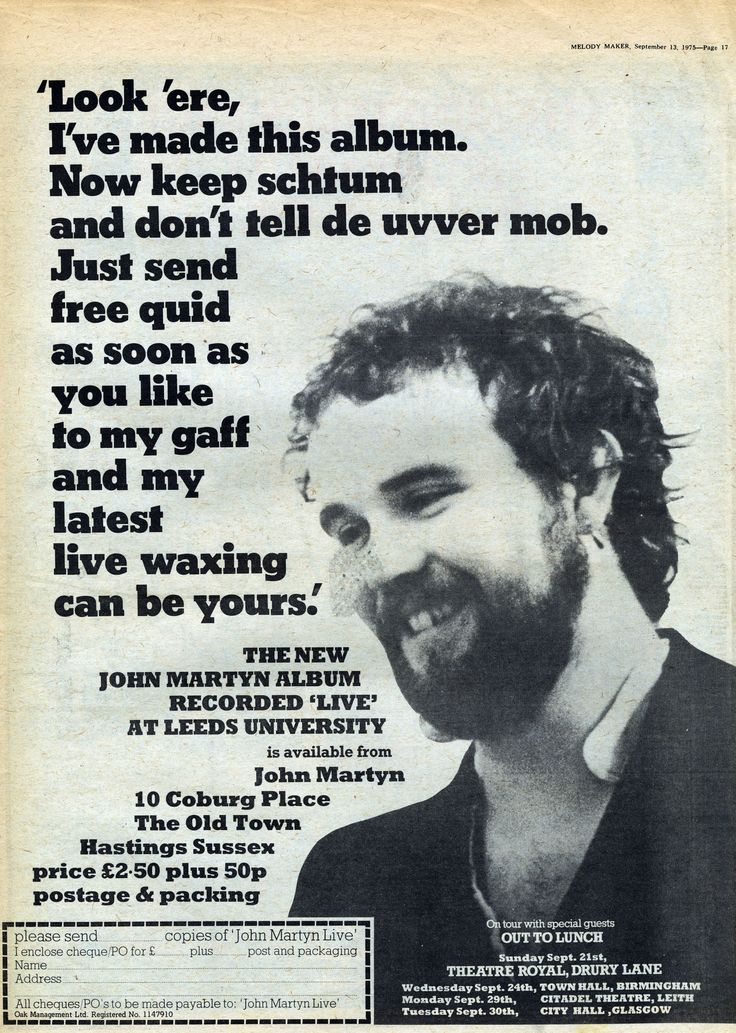 Ad for John Martyn's mail order-only Live At Leeds L.P. (ILPS 9343).