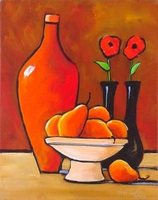Nov+15+Daily+Painting+Folk+Art+Poppies+Pears+and+Craftsman's+Vase,+painting+by+artist+Toni+Grote