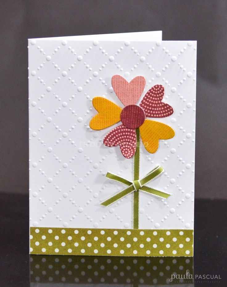 Simple Embossed Flower Card...using a heart punch to make the flower petals...Paula Pascual:  Scrapbooking With Tubo.