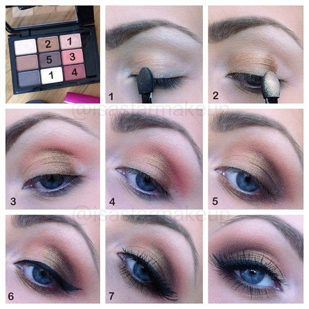 Golden makeup tutorial for blue eyes