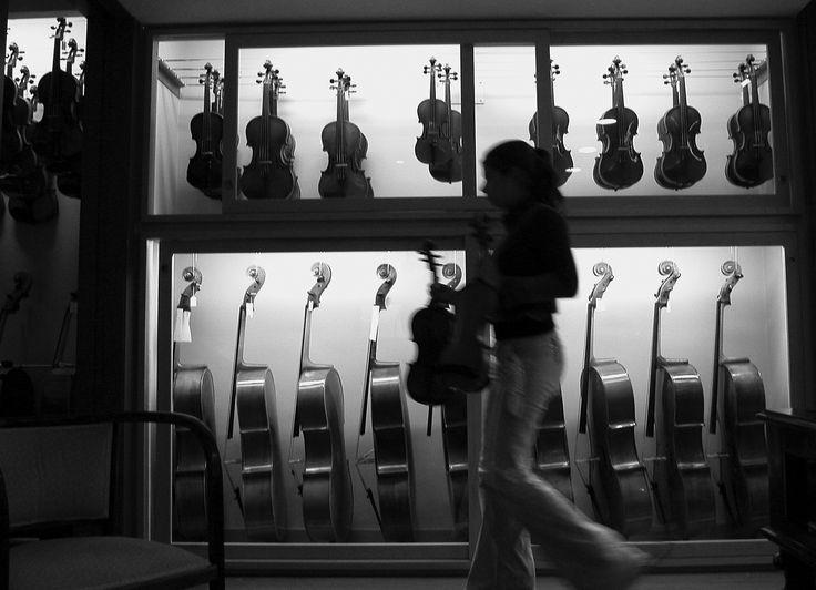 De paso en la tienda junto con los violines, violas y cellos profesionales