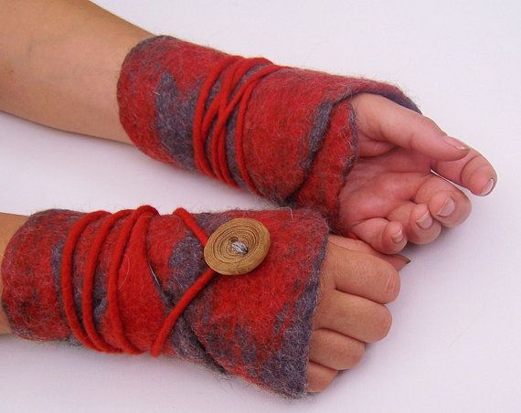 Wrap hot felted arm warmers wrist warmers cuffs collar by mafiz, €25.00