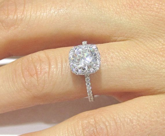 1.60ctw ROUND cut Harry Winston inspired diamond engagement ring & matching  wedding band R135