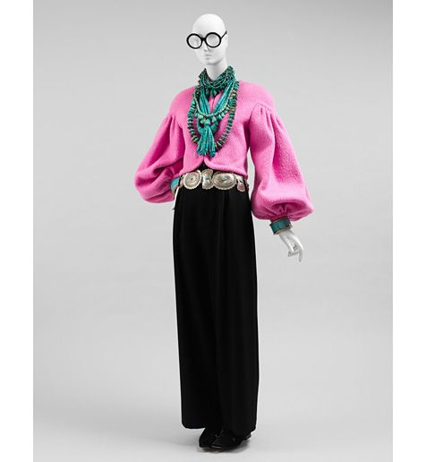 From the collection of Iris Apfel: Irisapfel, Pink Jacket, Apfel Style, Silhouette, Personal Style, Outfit, Turquoise Necklace, Legendary Style