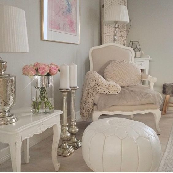 love the gray-tan and white combination with pops of pale pink and silver/pewter accents