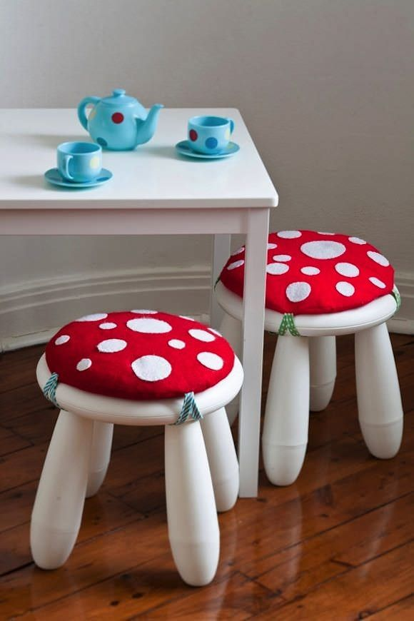 DIY IKEA Hacks for Kids' Rooms: MAMMUTT stool becomes a sweet mushroom- love this