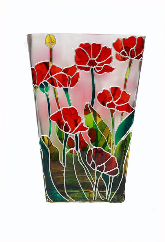 Poppies Hand Painted Glass Vase - Decorative Glass Art