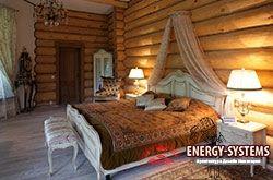 Интерьер спальни в деревянном доме.