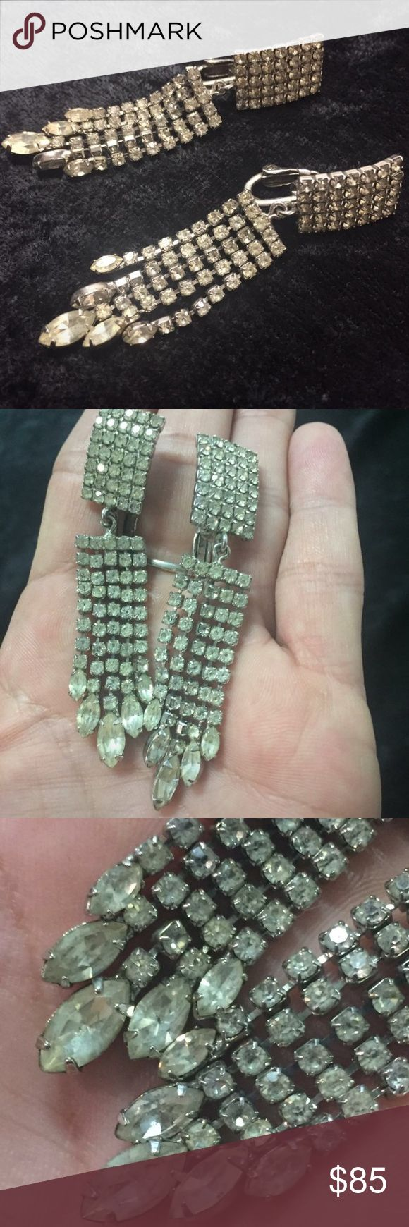 """Signed Napier crystal chandelier earrings EUC Vintage Napier chandelier earrings. These look basically new. They are in wonderful condition. No missing crystals. A vintage must have. Size is .5"""" wide and 1 3/4"""" long. Napier Jewelry Earrings"""