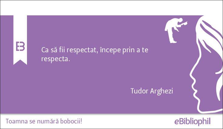 """""""Ca să fii respectat, începe prin a te respecta."""" Tudor Arghezi"""