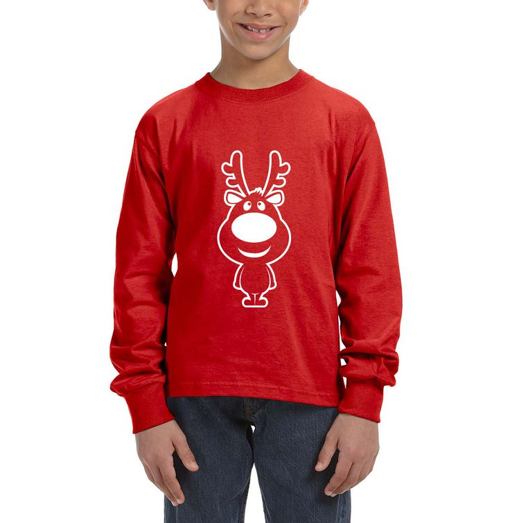 Fasion Youth Long-Sleeve T-shirt for Christmas Reindeer by SignCharacter on Etsy