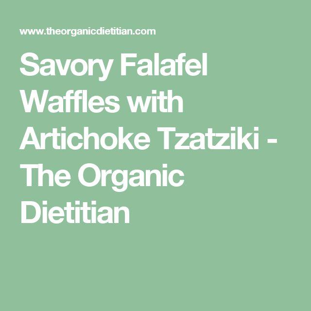 Savory Falafel Waffles with Artichoke Tzatziki - The Organic Dietitian