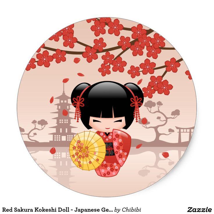 Boneca vermelha de Sakura Kokeshi - gueixa Adesivo