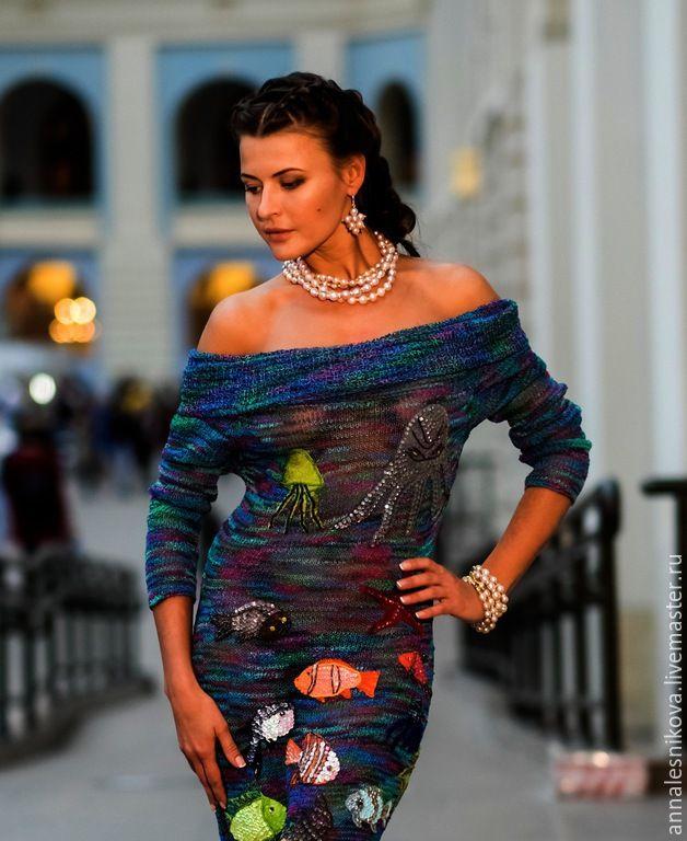"""Купить Платье """"ОБИТАТЕЛИ МОРЕЙ"""" - тёмно-бирюзовый, рисунок, Анна Лесникова, пикассо, ганпи, норо"""