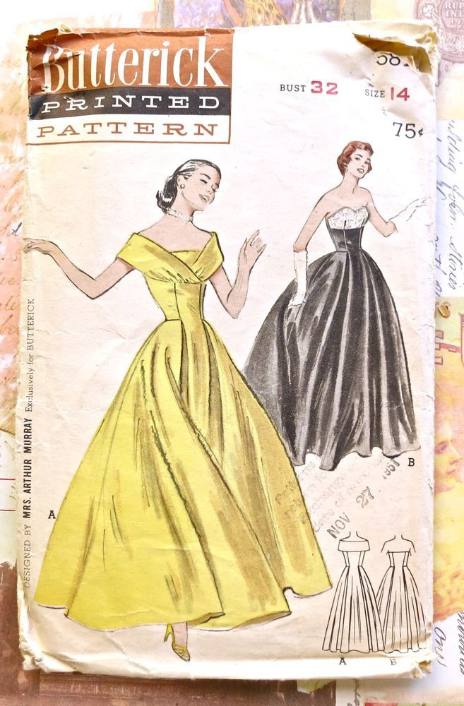 1950S Women evening dress | Vintage 1950s Womens Off-The-Shoulder or Strapless Evening Gown ...