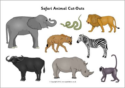 Safari animal cut-outs - SparkleBox- Sort into different habitats