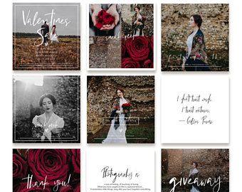 Instagram Templates, Valentines Day Instagram MarketingTemplates, Social Media Templates for Photographers