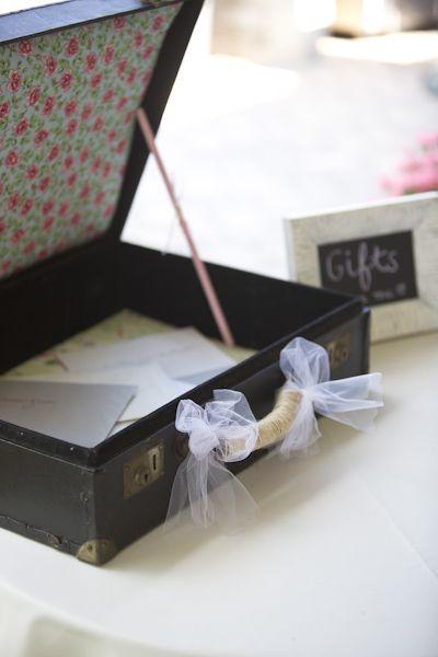 Vintage briefcase gift basket Photo by Kerry Long Photography www.kerrylong.com