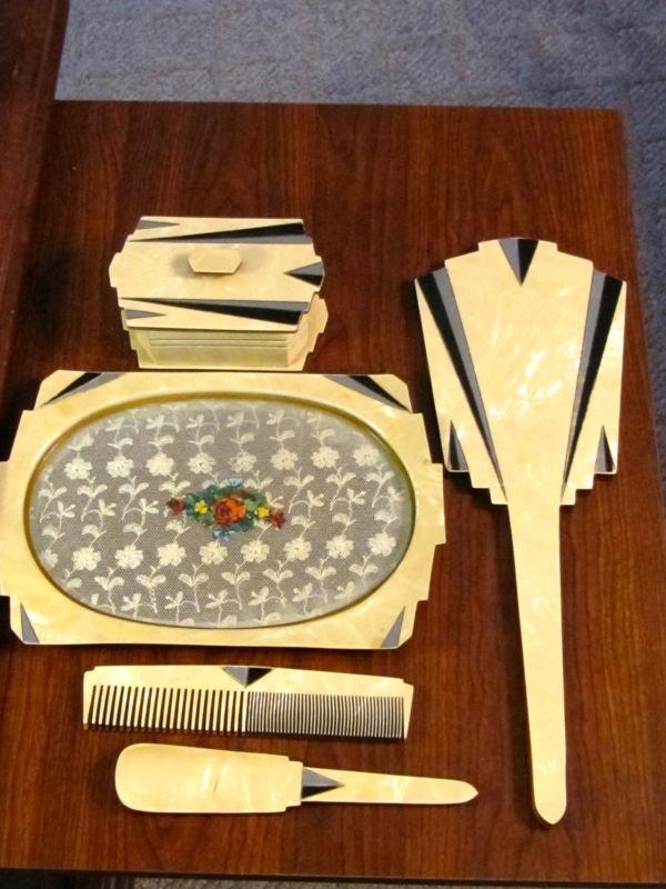 Vintage Antique Art Deco Vanity or Dresser Set (Possibly Bakelite) | eBay