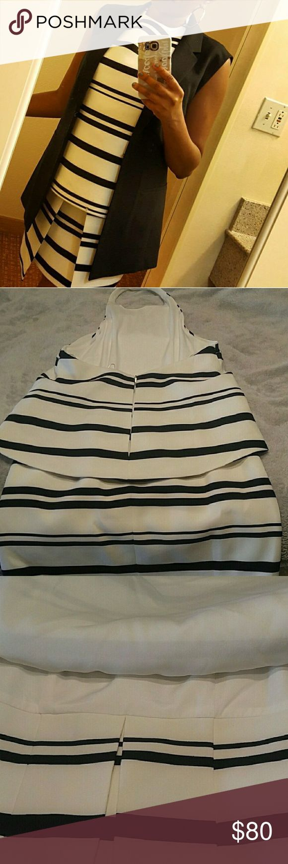 Finders Keepers Halter Twofer dress Black and White Striped  Halter  Size L but fits like a Medium Finders Keepers Dresses Mini