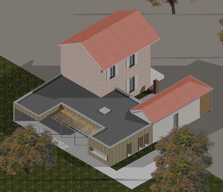 agrandissement maison bois toit plat - Recherche Google Verrière