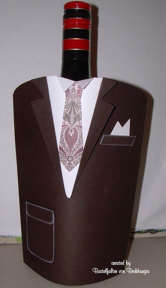 Herren sakko flaschenverpackung basteln mit papier for Wohnzimmer 4 x 8