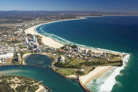 Tweed River and Tweed Heads, New South Wales (and Coolangatta, Queensland), Australia - aerial