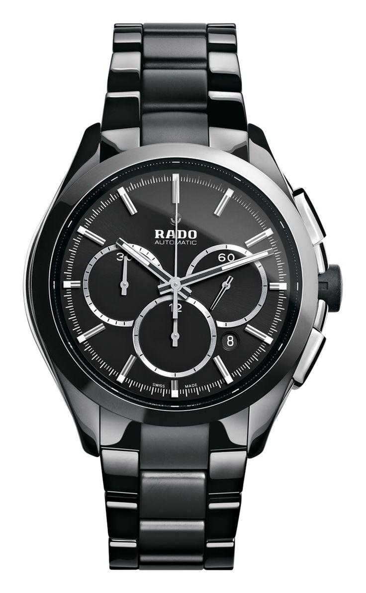 RADO Hyperchrome Automatic chronograph, black high-tech ceramic watch. Made in Switzerland. R32275152. Authorized Rado Dealer. Free CDN shipping.