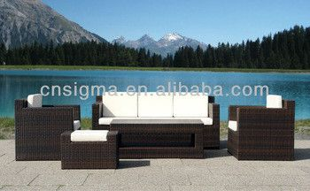 2017 Contemporary Patio Outdoor Wicker Furniture Living Room Sofa Sitting Room with Ottoman