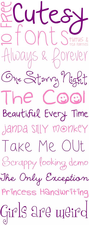 10 Free Cutesy Fonts