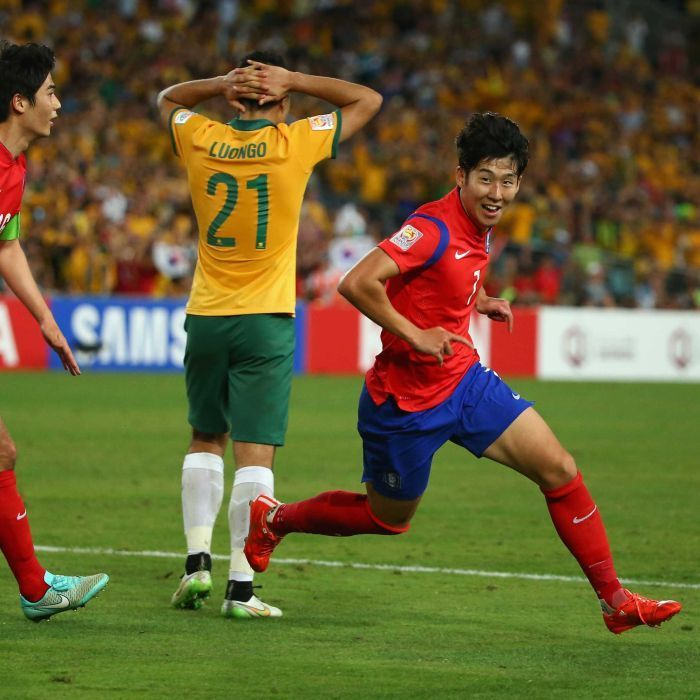 Son equalises for South Korea in Asian Cup final - Son Heung-min of South Korea celebrates scoring an injury time goal to level the scores during the 2015 Asian Cup final against Australia at Stadium Australia on January 31, 2015 in Sydney.
