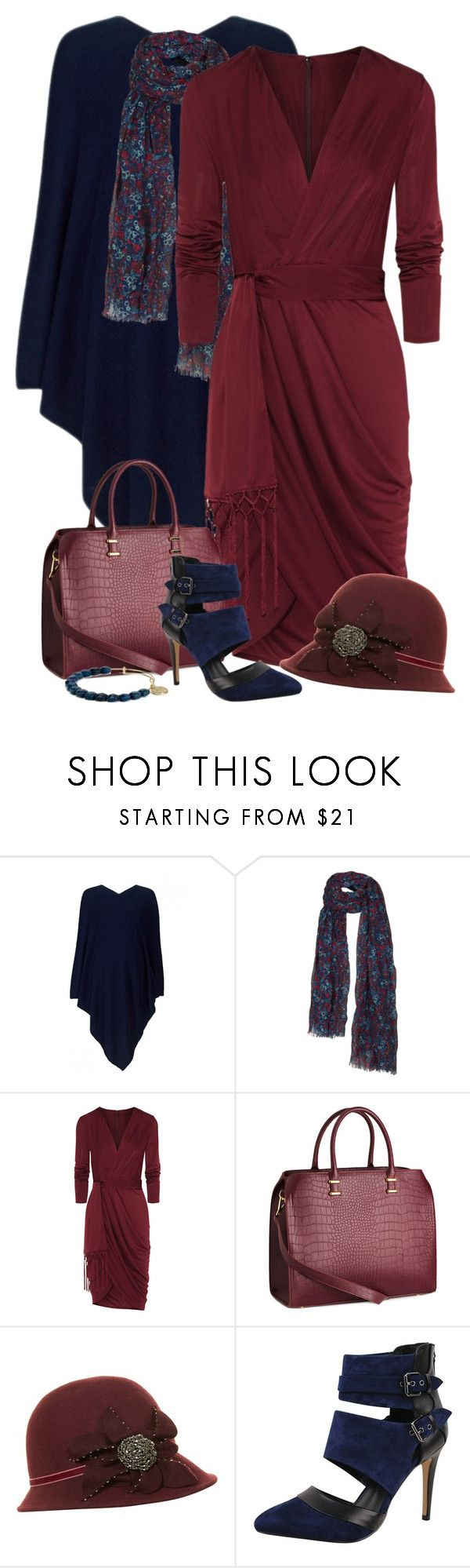 """""""Burgandy and Navy Poncho and Dress Outfit"""" by helenehrenhofer ❤ liked on Polyvore featuring 360 Sweater, Fat Face, Altuzarra, H&M, Dickins & Jones, Dolce Vita and Armani Exchange"""